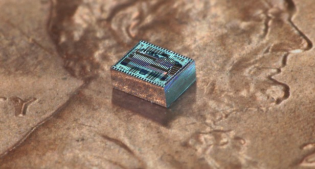 Hajimiri Lensless chip on penny CROP1600